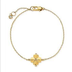 NWT KATE SPADE Gold Tone Crystal Flower Bracelet